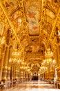 Interior of Opera Garnier in Paris beautiful ceiling Royalty Free Stock Photo