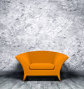 Interior with orange armchair Royalty Free Stock Image
