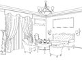 Interior outline sketch. Furniture. Architectural design Royalty Free Stock Photo