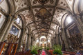 Interior of the Parroquia de San Juan Bautista church in Coyoacan, Mexico City - Mexico Royalty Free Stock Photo