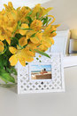 Interior picture frame with flowers Royalty Free Stock Image