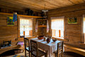 Interior poor hut in the middle ages russian Stock Photos