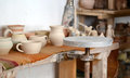Interior pottery inside. Workplace of a potter. Royalty Free Stock Photo