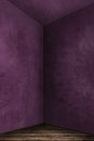Interior purple grunge wall with wooden base Stock Photos