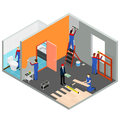 Interior Renovation Room or House Isometric View. Vector