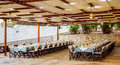 Interior of the restaurant with covered tables Royalty Free Stock Photo