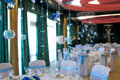 Interior of the restaurant decorated for holiday Royalty Free Stock Photos