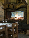Interior of restaurant with fireplace Royalty Free Stock Photos