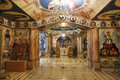 Interior of the Romanian underground Orthodox Church of the Nativity of the Virgin in Jericho,
