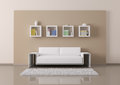 Interior of room with sofa and bookshelves d render living Royalty Free Stock Image