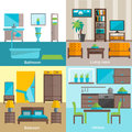 Interior rooms furnishing 4 flat icons