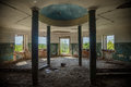 Interior of ruined round hall of an abandoned mansion Earl Voeikov, Penza Region Royalty Free Stock Photo