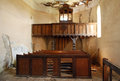 Interior ruinous protestant reformed church former organ Royalty Free Stock Photography