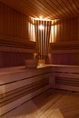 Interior of sauna russian with accessories Royalty Free Stock Photo