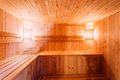 Interior of the sauna shelves lamp nobody Stock Images