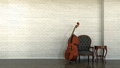 Interior scene with double bass d and white wall from bricks Royalty Free Stock Photo