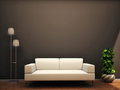 Interior scene sofa lamp flower wall Stock Photos