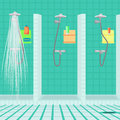 Interior of the shower room at the sports club public showers swimming pool vector flat cartoon illustration Royalty Free Stock Photography