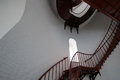 Interior Spiral Staircase and arched window inside Piedras Blancas Lighthouse on the Central California Coast Royalty Free Stock Photo