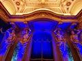 Interior statues illuminated in blue Royalty Free Stock Photo