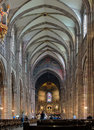 Interior of strasbourg cathedral france central nave Royalty Free Stock Image