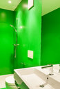 Interior stylish modern house green bathroom Royalty Free Stock Images