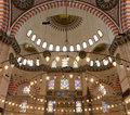 Interior of the Suleymaniye Mosque Royalty Free Stock Photography
