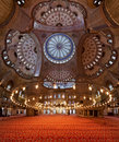 Interior of the Sultanahmet Mosque in Istanbul Royalty Free Stock Photos