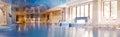 Interior of the swimming pool horizontal panorama Royalty Free Stock Photos