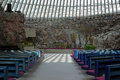 Interior of the Temppeliaukio Church in Helsinki Stock Photos