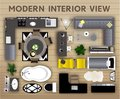 Interior top view icons set. Realistic interior furniture elements.