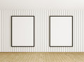 Interior with two frames black over the white wall Royalty Free Stock Photography