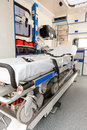 Interior view of an ambulance car stretcher with gurney in focus Stock Photo