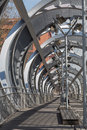 Interior view of the bridge perrault in rio madrid spain metal progresses a spiral on pedestrians Royalty Free Stock Photo