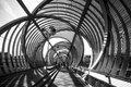 Interior view of perrault in rio bridge in black and white a spiral shaped designed by dominique build the middle madrid city Stock Images