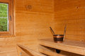 Interior View of Sauna Bath Stock Photos