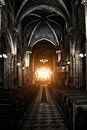 Interior view of a sinister gothic cathedral Stock Photo