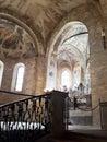 Interior view of St. George`s Basilica at Prague Castle.