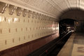 Interior view of subway station in moscow russia Stock Photos