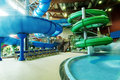 Interior water park with attractions Royalty Free Stock Photos