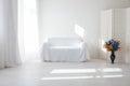 Interior white room sofa window vase