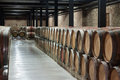 Interior of winery with many barrels Royalty Free Stock Photos