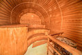 Interior of wooden sauna cabin Royalty Free Stock Photo