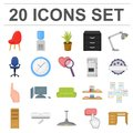Interior of the workplace cartoon icons in set collection for design. Office furniture vector symbol stock web