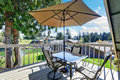 Interior of wraparound deck with amazing view of Lake Tapps. Royalty Free Stock Photo