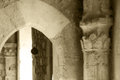 Interiors of a castle of middle ages, sepia hue Royalty Free Stock Photo