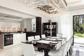 Interiors luxury dining room architecture modern house beautiful Stock Photography