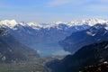 Interlaken Brienzersee with Alps mountains Switzerland aerial vi Royalty Free Stock Photo