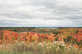 Interlochen michigan autumn landscape in taken from a hilltop and facing north green lake is in the background Stock Photography