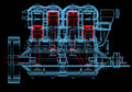 Internal combustion engine d xray red and blue transparent isolated on black background Stock Image